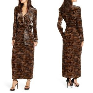 NEW Wayf Arlene Tiger Wrap Velvet Maxi Dress